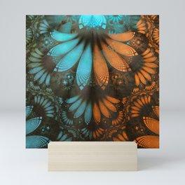Shikoba Fractal -- Beautiful Leather, Feathers, and Turquoise Mini Art Print