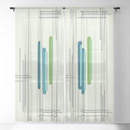 Mid Century Minimalist Bars Light Green Sheer Curtain
