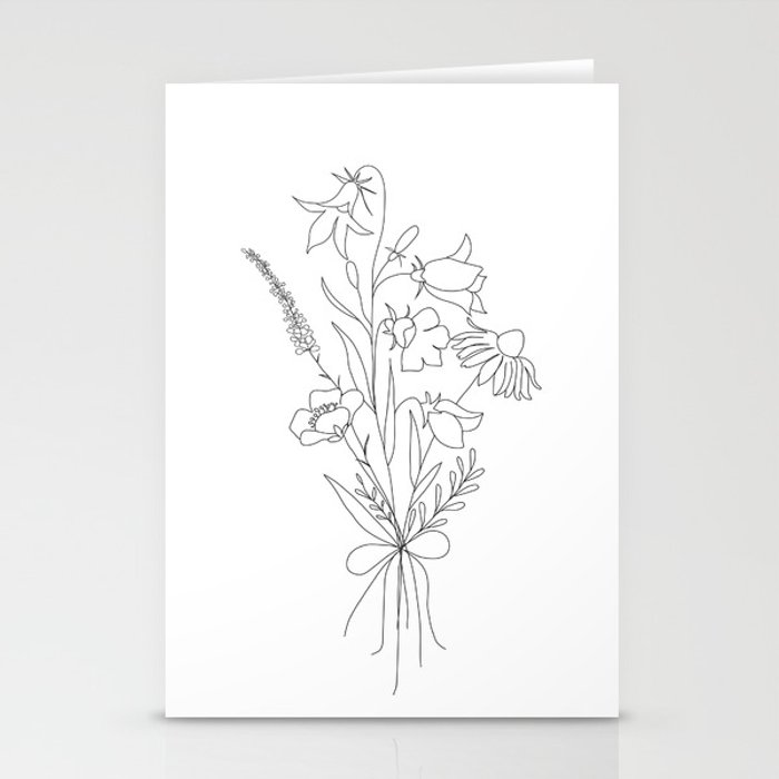 Small Wildflowers Minimalist Line Art Stationery Cards