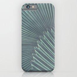 Tropical Palm Leaf Matte Teal iPhone Case