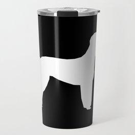 Poodle silhouette black and white square minimal modern dog art pet portrait dog breeds Travel Mug