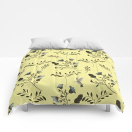 Butter Yellow and Bluebells and Bluebirds Floral Pattern Flowers in Blue and Bark Brown Comforters
