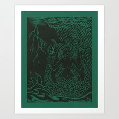 Emerald Mermaid Art Print