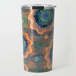 Glowing Fancy Flowers on Checks Travel Mug