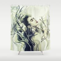 stag Shower Curtains featuring Stag by Anna Dittmann