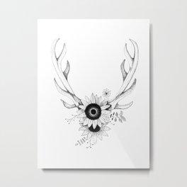 Antlers w/Flowers Metal Print