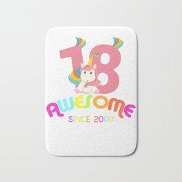 Awesome Since 2000 Unicorn 18th Birthday Anniversaries Bath Mat