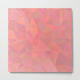 Abstract Pretty Design Triangles Polygonal Art Pink Peach Rose Metal Print