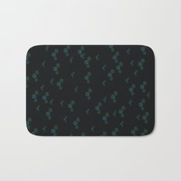 flower pattern black background green and blue flowers Bath Mat