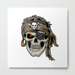 pirate skull with black bandana Metal Print