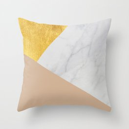Carrara Marble with Gold and Pantone Hazelnut Color Throw Pillow