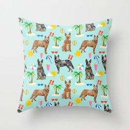 Australian Cattle Dog beach tropical pet friendly dog breed dog pattern art Throw Pillow