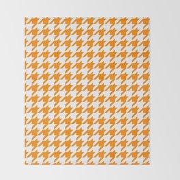 Orange: Houndstooth Checkered Pattern Throw Blanket