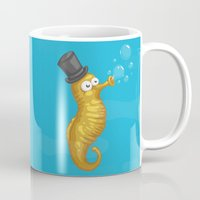 seahorse Mugs featuring Seahorse by Lili Batista