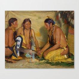 Making Sweet Grass Medicine, Blackfoot Ceremony by Joseph Henry Sharp, circa 1920. Canvas Print