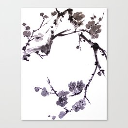 Plum blossom sumie ink painting Canvas Print