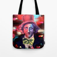 willy wonka Tote Bags featuring Wonka by Phillip Aceves