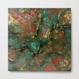 Red and Turquoise Metal Print