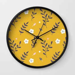 Mustard Floral Pattern Wall Clock