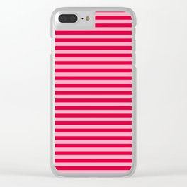 Striped Summer Pattern, Red and Pink Clear iPhone Case