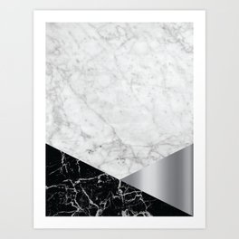 White Marble - Black Granite & Silver #230 Art Print