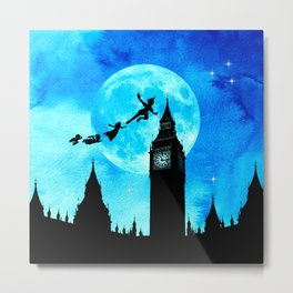 Magical Watercolor Night - Peter Pan Metal Print