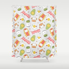 Cat food and succulent Shower Curtain