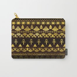 Egyptian Ethnic Pattern gold on rich browns Carry-All Pouch