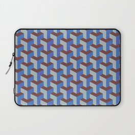 Cobalt Blue and Brown Geometric Marquetry Pattern Laptop Sleeve