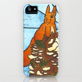 Stained Glass Red Squirrel iPhone Case