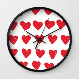 love and red hearts Wall Clock
