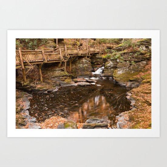 Swirling Bushkill Fall Stream Art Print