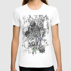 Dead Rose Decay I SMALL White Womens Fitted Tee