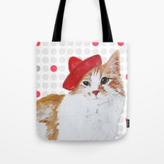 red hat cat  Tote Bag