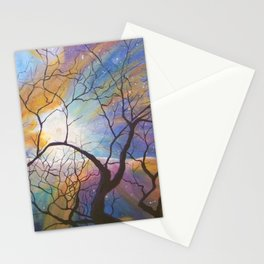 Space Tree Galaxy Painting Orion's Nebula Original Art (Dust in the Wind) Stationery Cards
