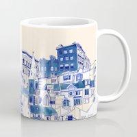 buildings Mugs featuring Blue Buildings by Jordan Kay