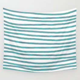 Ocean Green Hand-painted Stripes Wall Tapestry