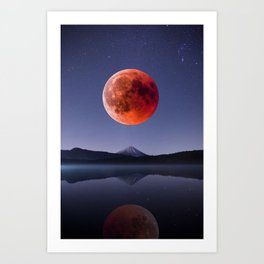 Blood Moon over Mt Rainier Washington State Art Print
