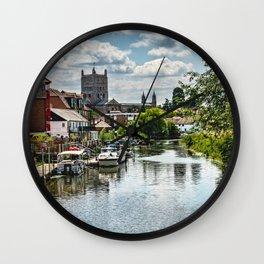 The River Avon At Tewkesbury Wall Clock