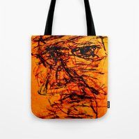 depression Tote Bags featuring Depression in Charcoal by Abram Freitas