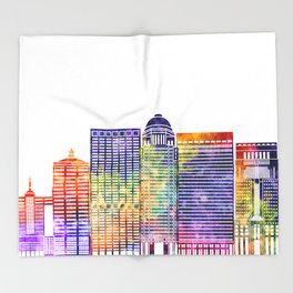 Louisville landmarks watercolor poster Throw Blanket