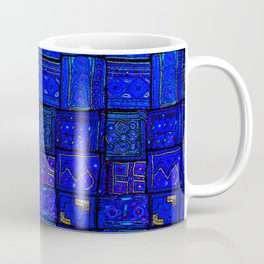 (N17) Calm Indigo Blue Boho Traditional Moroccan Artwork Coffee Mug