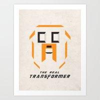 transformer Art Prints featuring Adventure Time Jake the Transformer by Lautstarke