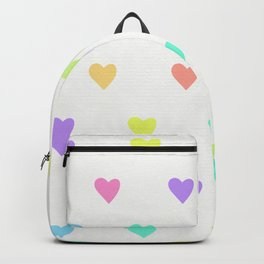 Cute Pastel Rainbow Hearts Pattern Backpack