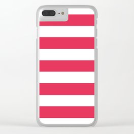 Amaranth - solid color - white stripes pattern Clear iPhone Case