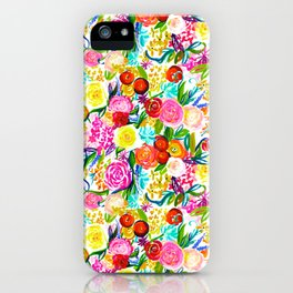 Neon Summer Floral (Smaller Print size) iPhone Case