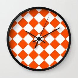 Large Diamonds - White and Dark Orange Wall Clock