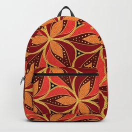 Gold Foil Three Petals Magenta Golden Dotted on Black Backpack