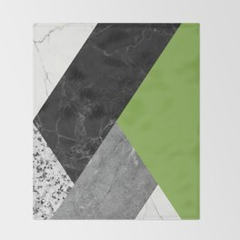 Black and White Marbles and Pantone Greenery Color Throw Blanket