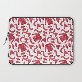 Red white snow flakes Christmas winter fashion pattern Laptop Sleeve